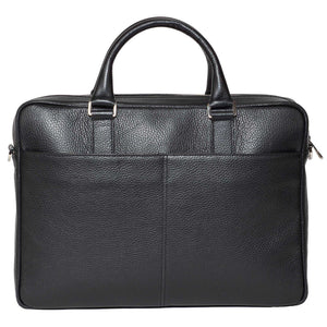 Slim Italian Leather Briefcase Made in Italy - Front View