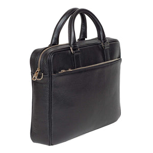 Slim Italian Leather Briefcase Made in Italy - Front, Side View