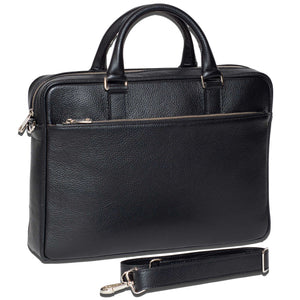 Slim Italian Leather Briefcase Made in Italy - Removable Shoulder Strap