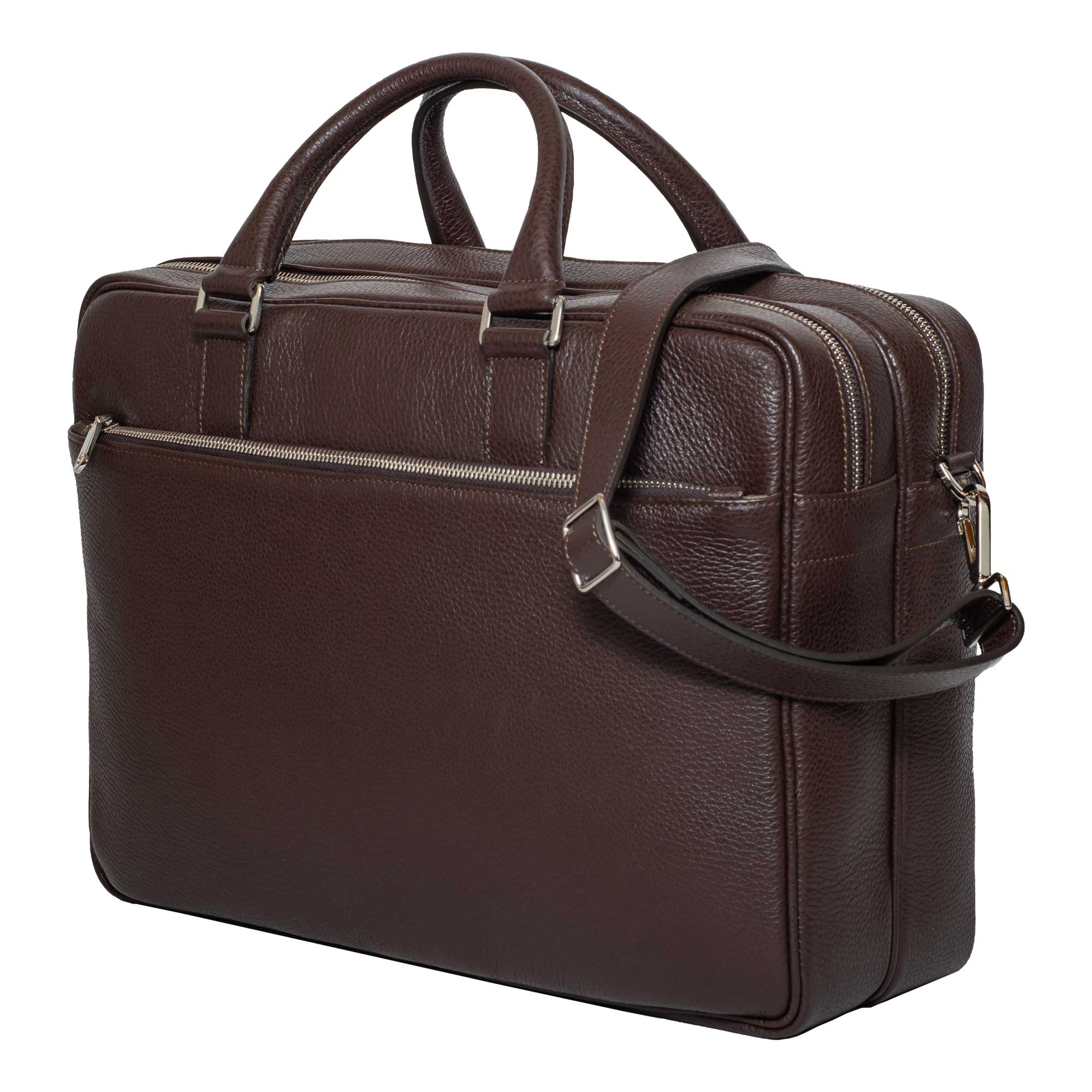 DiLoro Italian Leather Briefcases for Men in Brown | Made in Italy - Front, side view with full length zippered pocket.