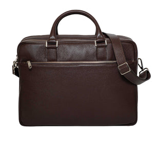 DiLoro Italian Leather Briefcases for Men in Brown | Made in Italy - Front view with full length zippered pocket.