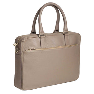 Slim Italian Leather Briefcase for Women by DiLoro - Made in Italy