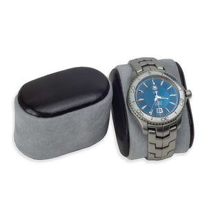 DiLoro Italian Leather Travel Watch Case - Watch Pillow showing from Black Case (watch not included)