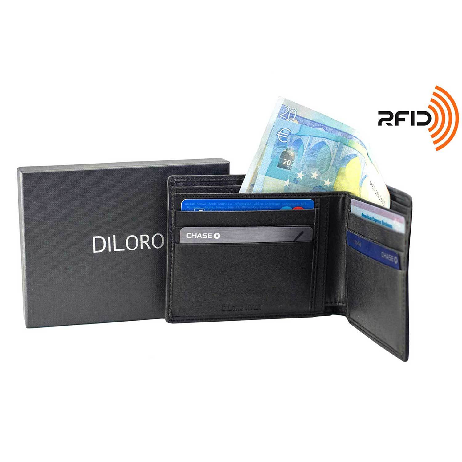 Wallet by DiLoro Italy Mens Wallets RFID Safe Genuine Leather Black Slim 2403-BK - Front, Open View with DiLoro Gift and RFID Logo