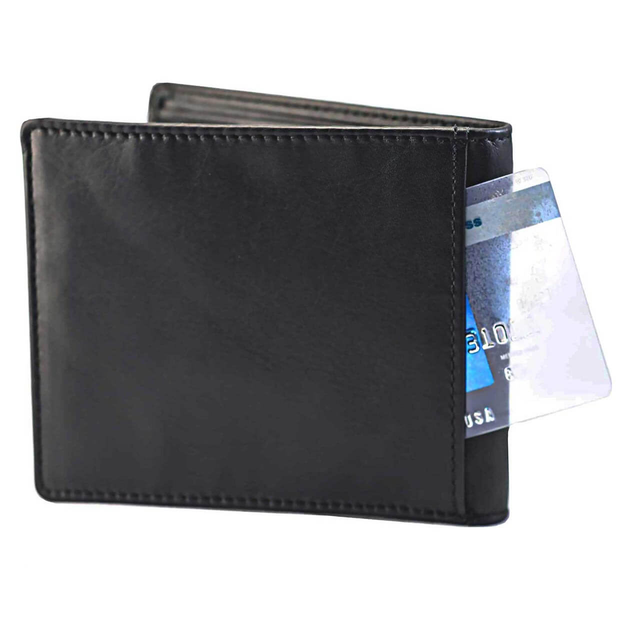 Wallet by DiLoro Italy Men's Wallets RFID Blocking Genuine Full Grain Leather with Coin Compartment, Black 2401-BK - Back Slip Pocket
