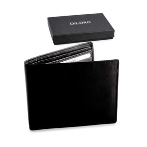 Wallet by DiLoro Italy Mens Wallets RFID Safe Genuine Leather Black Slim 2403-BK - Open Inside View