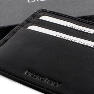 DiLoro Slim Bifold Leather Wallet with Back Slip Pocket and RFID Protection