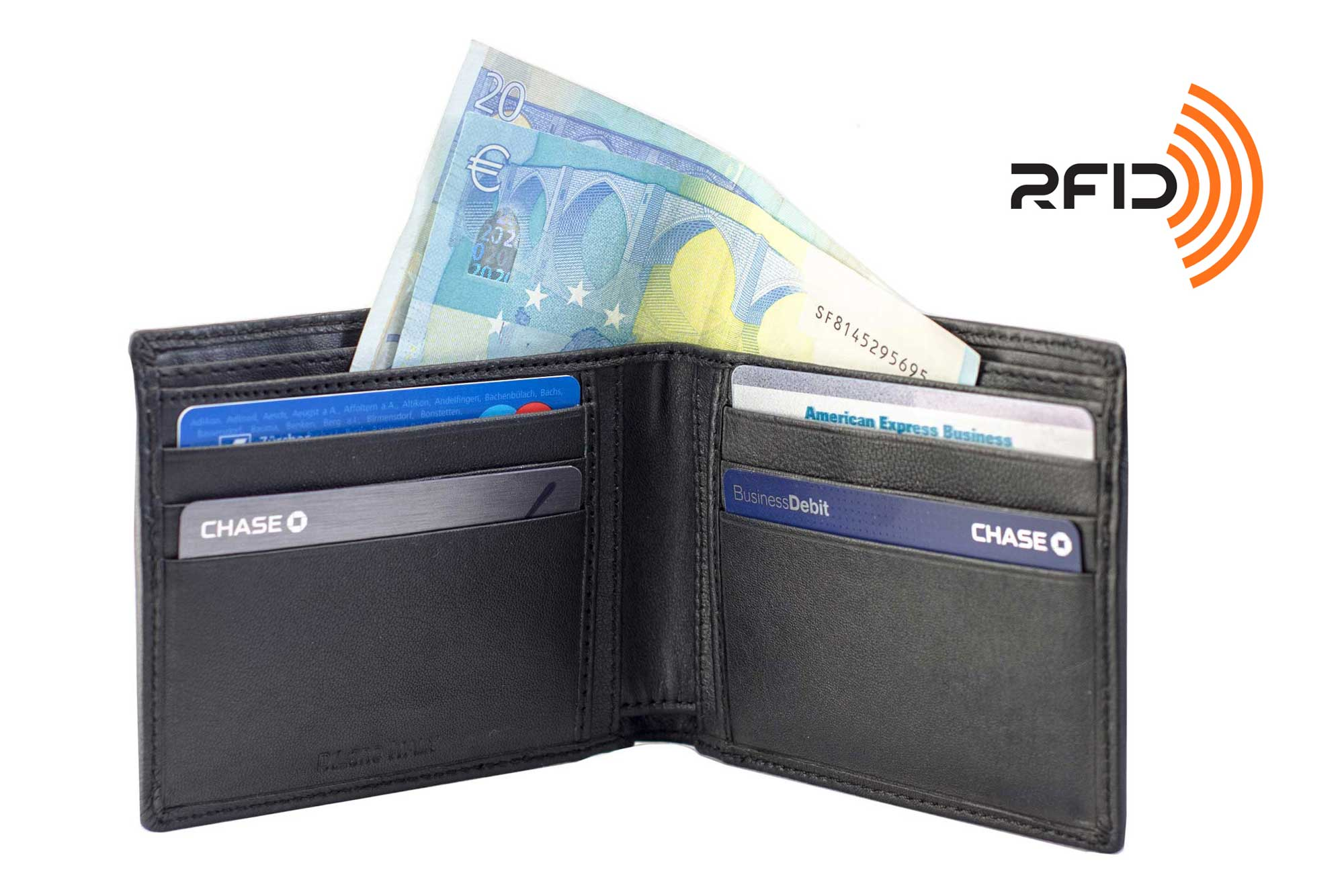 DiLoro Slim Bifold Leather Wallet with Back Slip Pocket, RFID Protection, Double Billfold