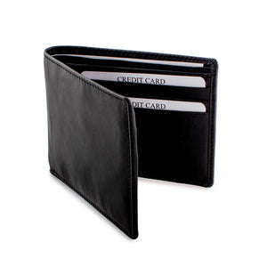 DiLoro Slim Bifold Leather Wallet with Outside Back Slip Pocket and RFID Protection
