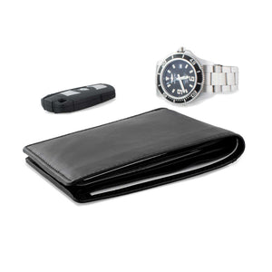 DiLoro Men's Genuine Full Grain, Slim Leather RFID Bifold Wallet with two Cash Compartments and a Back Slip Pocket (BMW Key and Watch not included)