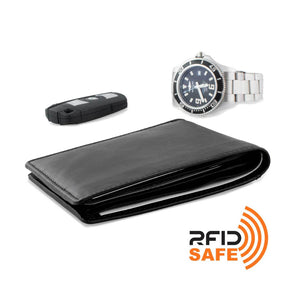 Wallet by DiLoro Italy Mens Wallets RFID Safe Genuine Leather Black Slim 2403-BK - Lifestyle Image with RFID logo