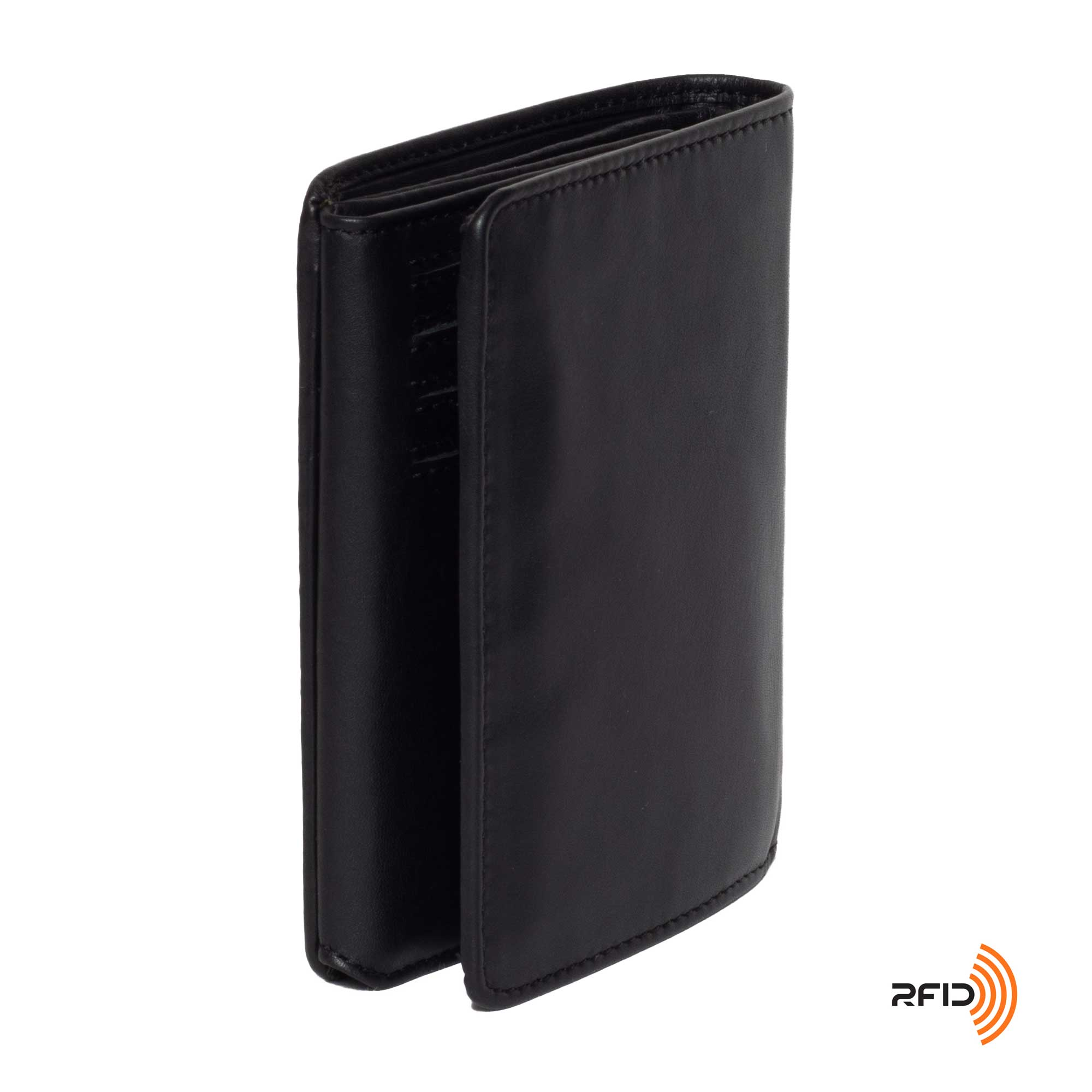 DiLoro Men's Vertical Leather Bifold Flip ID Zip Coin Wallet Black with RFID Protection  - Back, Side View
