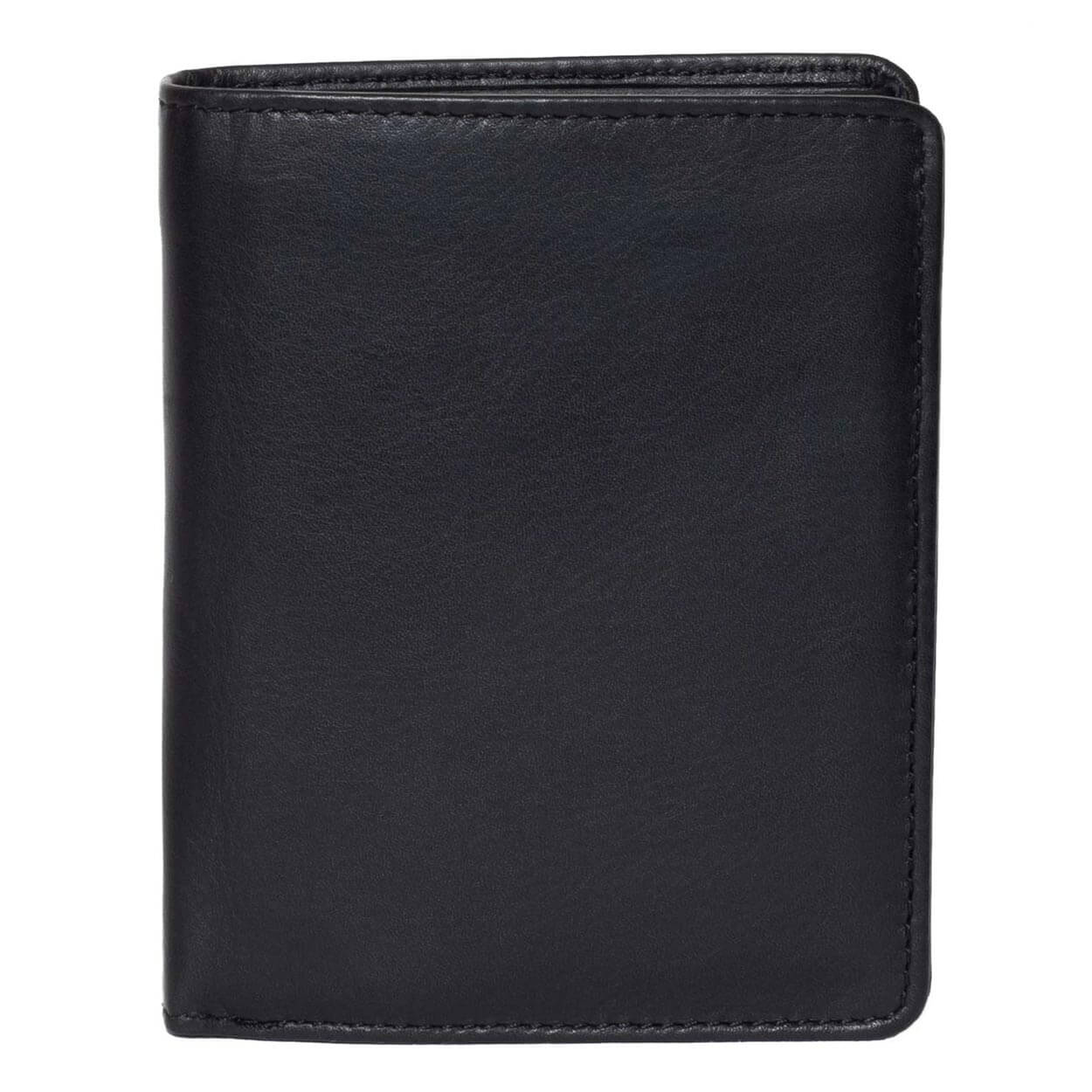 DiLoro Men's Vertical Leather Bifold Flip ID Zip Coin Wallet Black with RFID Protection  - Front View