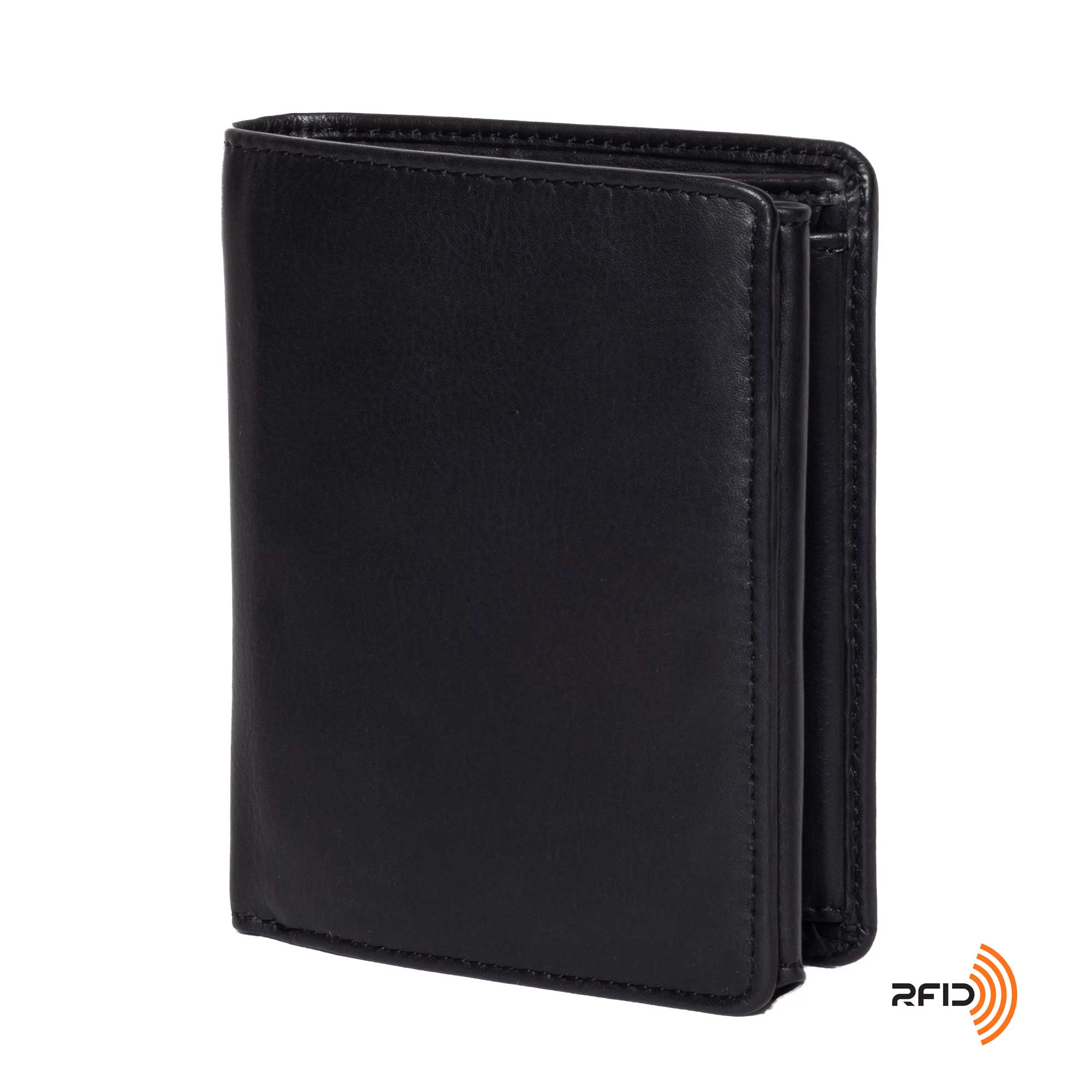 DiLoro Men's Vertical Leather Bifold Flip ID Zip Coin Wallet Black with RFID Protection  - Front, Side View