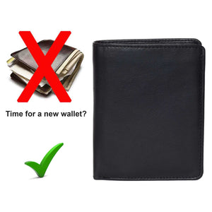 DiLoro Men's Vertical Leather Bifold Flip ID Zip Coin Wallet Black with RFID Protection  - Time for a new DiLoro leather wallet.