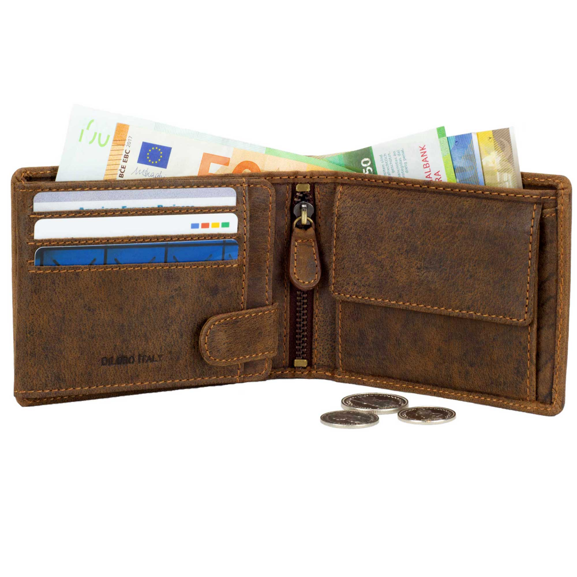 DiLoro Men's Leather Bifold Flip ID Zip Coin Wallet with RFID Protection - Dark Hunter Brown