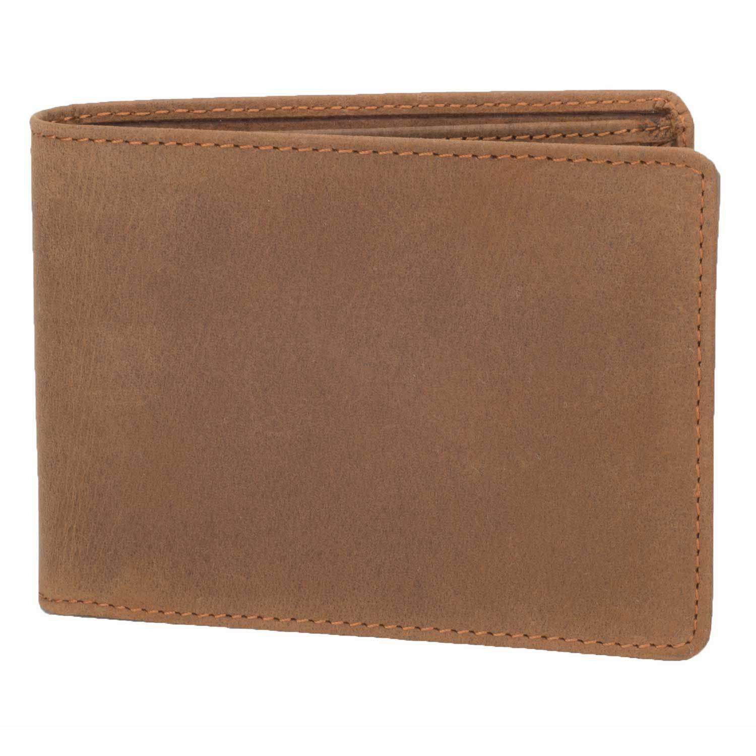 DiLoro Men's Leather Bifold Flip ID Zip Coin Wallet with RFID Protection in (Light) Hunter Brown