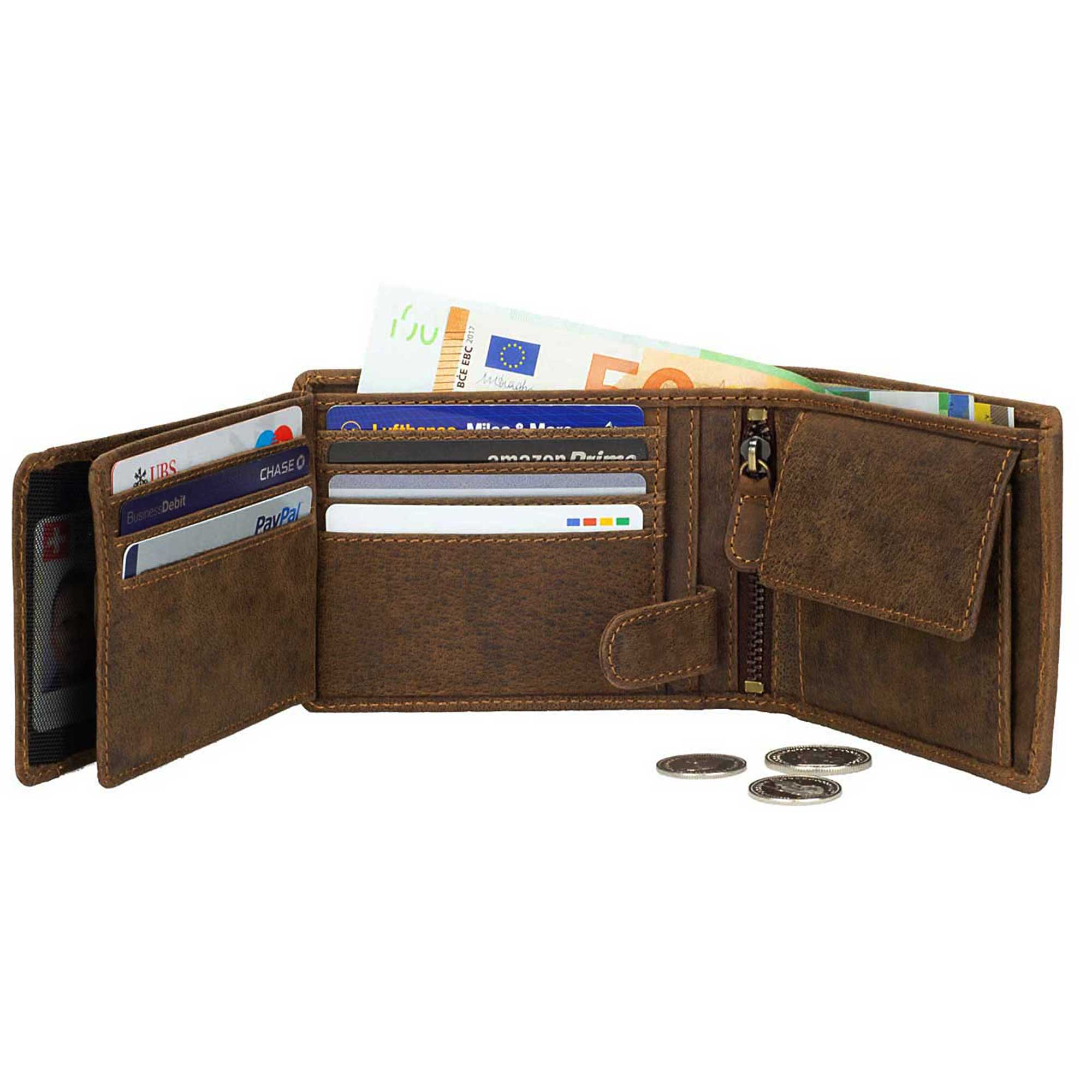 DiLoro Men's Leather Bifold Flip ID Zip Coin Wallet with RFID Protection - Fully Open Dark Hunter Brown