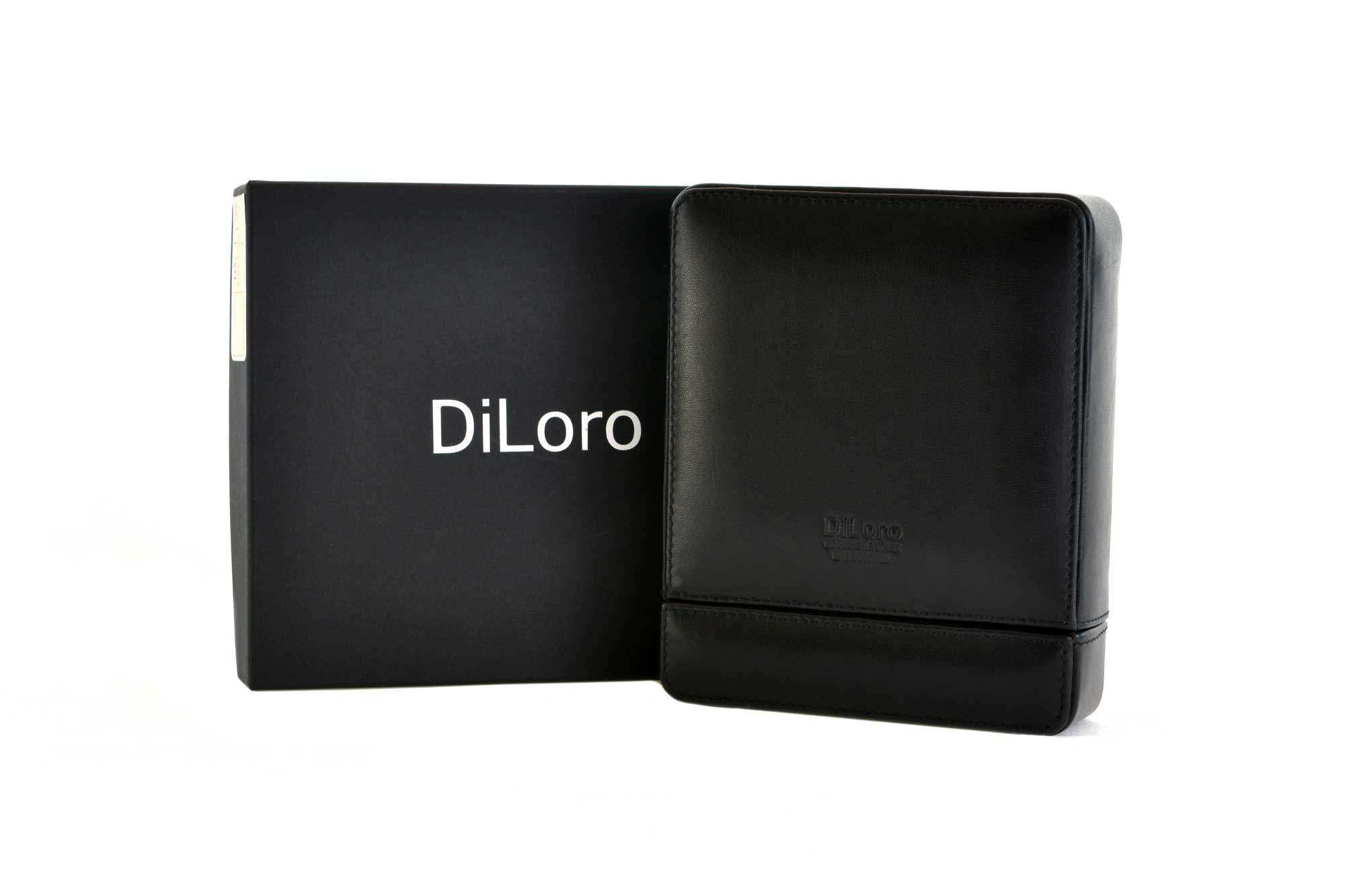 DiLoro Italian Leather Double Travel Watch Case Holder Black - Gift Box