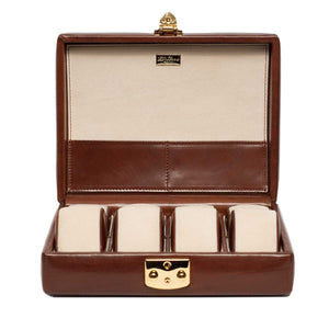 DiLoro Italian Leather Travel Watch Case Holds Eight Watches in Cognac Brown - Front, Open