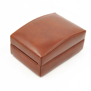 DiLoro Italian Leather Travel Watch Case Holds Four Watches in Coffee Brown - Closed Back View