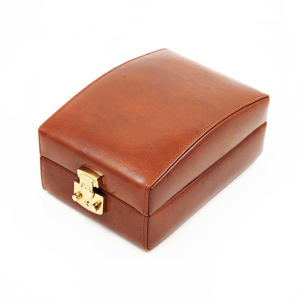 DiLoro Italian Leather Travel Watch Case Holds Four Watches in Coffee Brown - Closed Front View