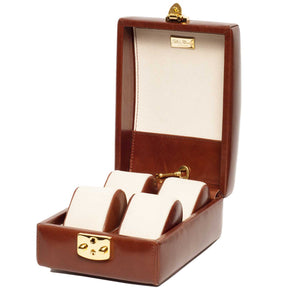 Italian Leather Travel Watch Case Holds Four Watches in Cognac Brown - Open Inside View