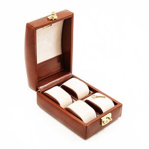 DiLoro Italian Leather Travel Watch Case Holds Four Watches in Coffee Brown - Open Inside View