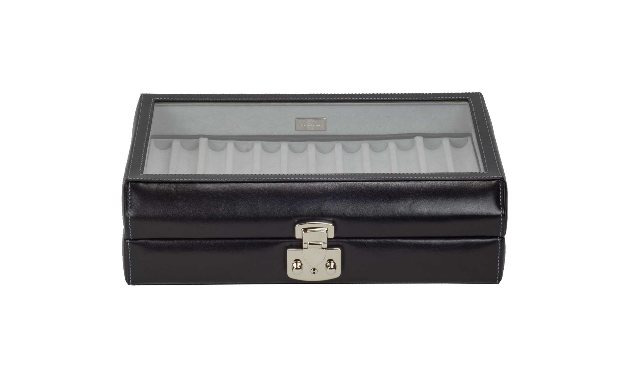 DiLoro Italian Leather 24 Pen Case Display Holder in Midnight Black - Front View