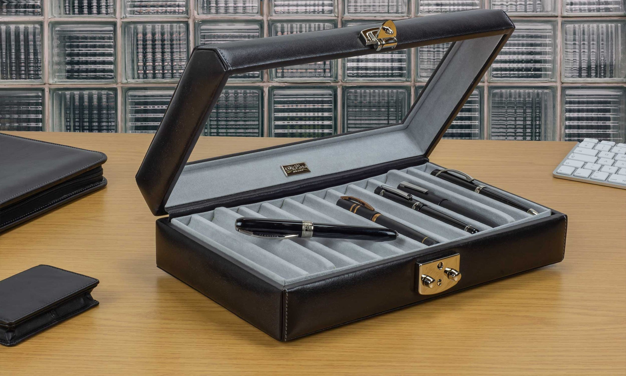 DiLoro Italian Leather 24 Pen Case Display Holder in Midnight Black (pens not included)