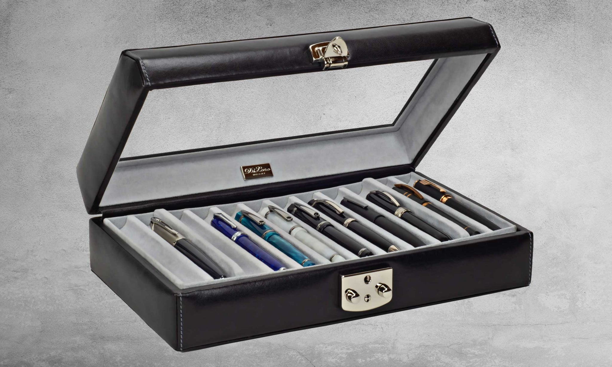 DiLoro Italian Leather 24 Pen Case Display Holder in Midnight Black