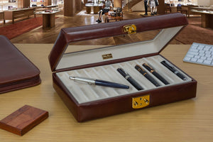 DiLoro Italian Leather 24 Pen Case Display Holder in Coffee Brown - Open in store (pens not included)