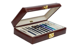 DiLoro Italian Leather 24 Pen Case Display Holder in Coffee Brown - Open (pens not included)