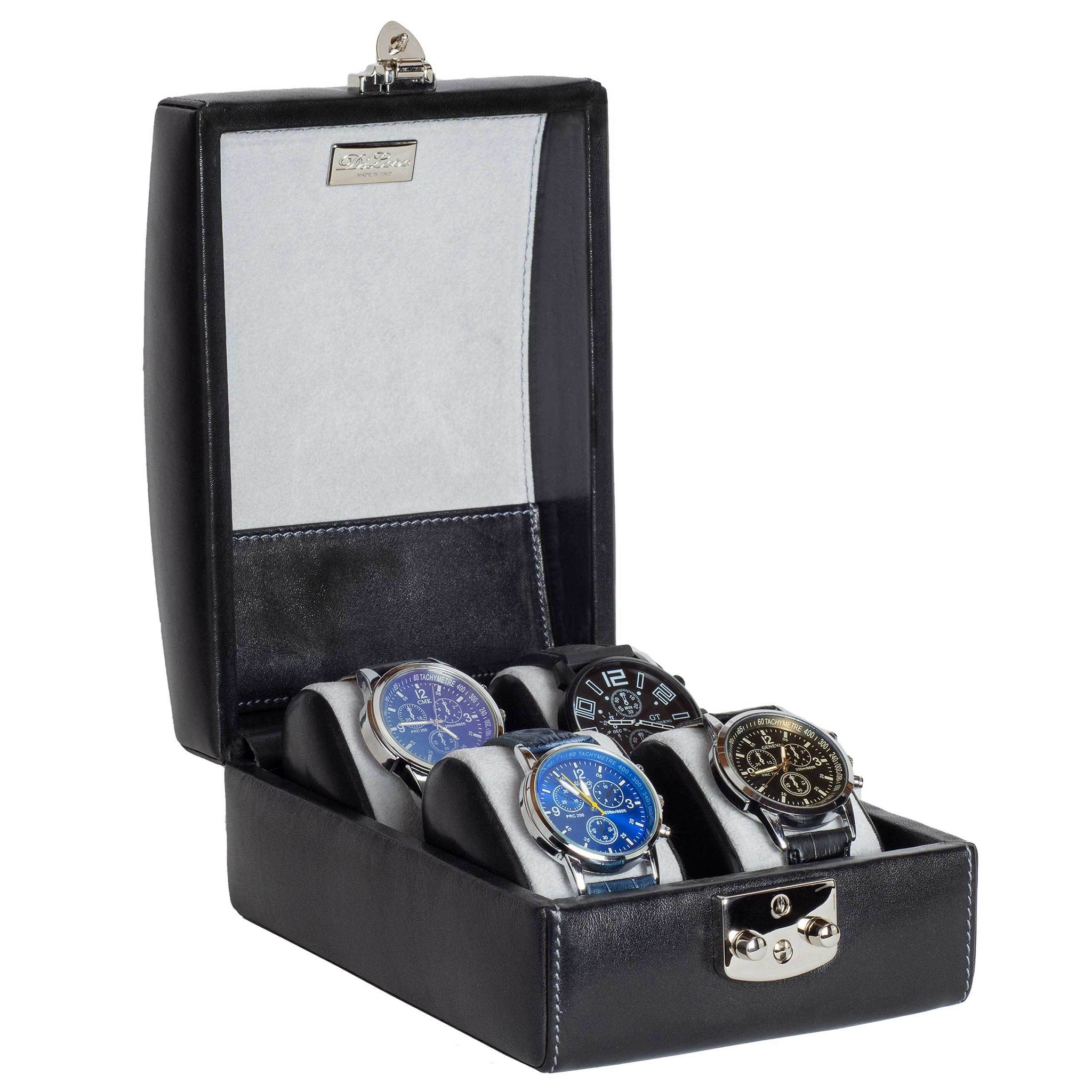 DiLoro Italian Leather Four Watch Case Box in Midnight Black - Made in Italy Designed in Switzerland