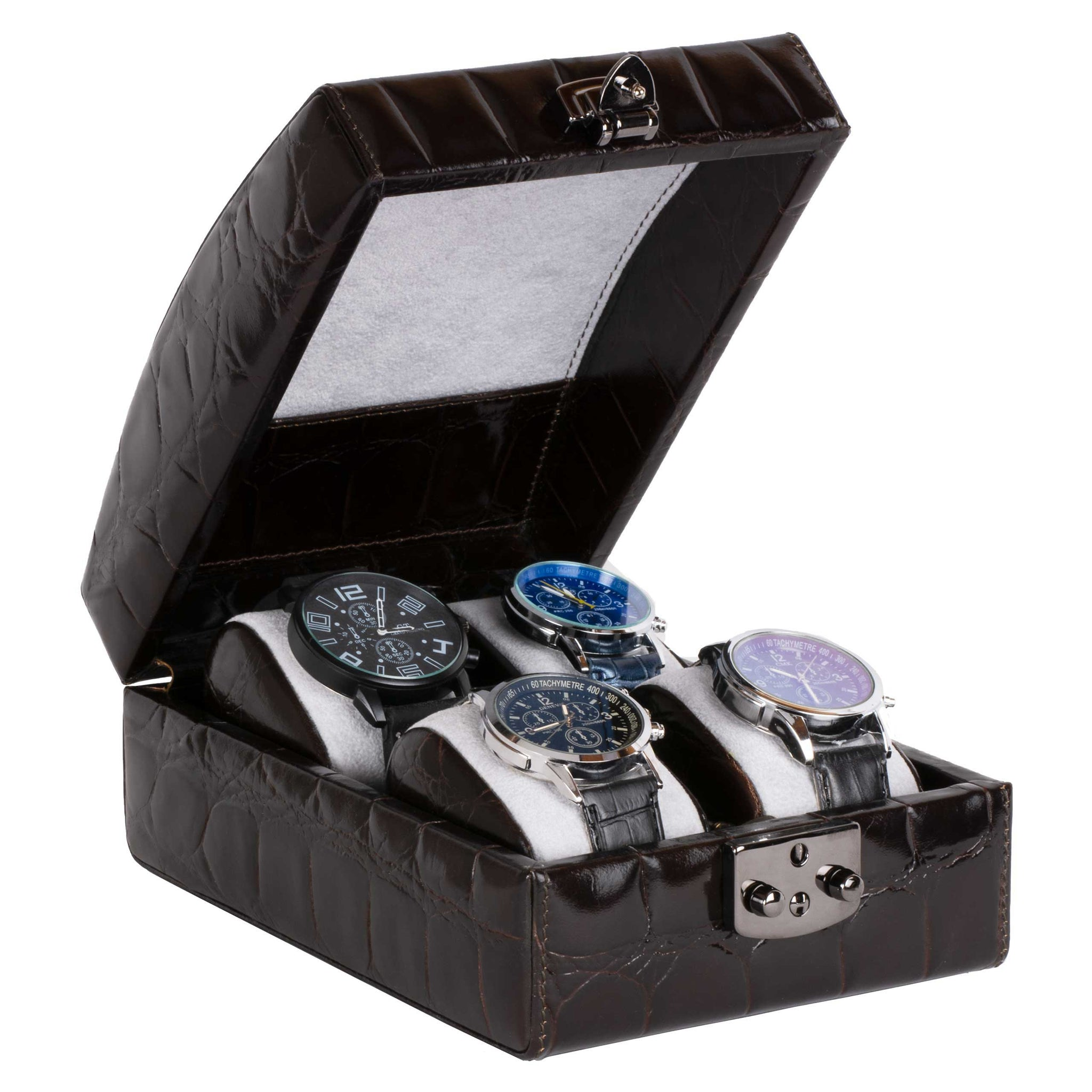 DiLoro Italian Leather Four Watch Case Box in Dark Brown Croc Print  - Open (watches not included)