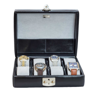 DiLoro Italian Leather Travel Watch Case Holds Eight Watches Midnight Black - Front, Open with Watches (not included)
