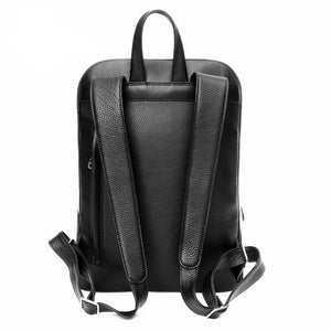 Backpacks, Italian Leather Backpack Black, Back View - Made in Italy for DiLoro Leather