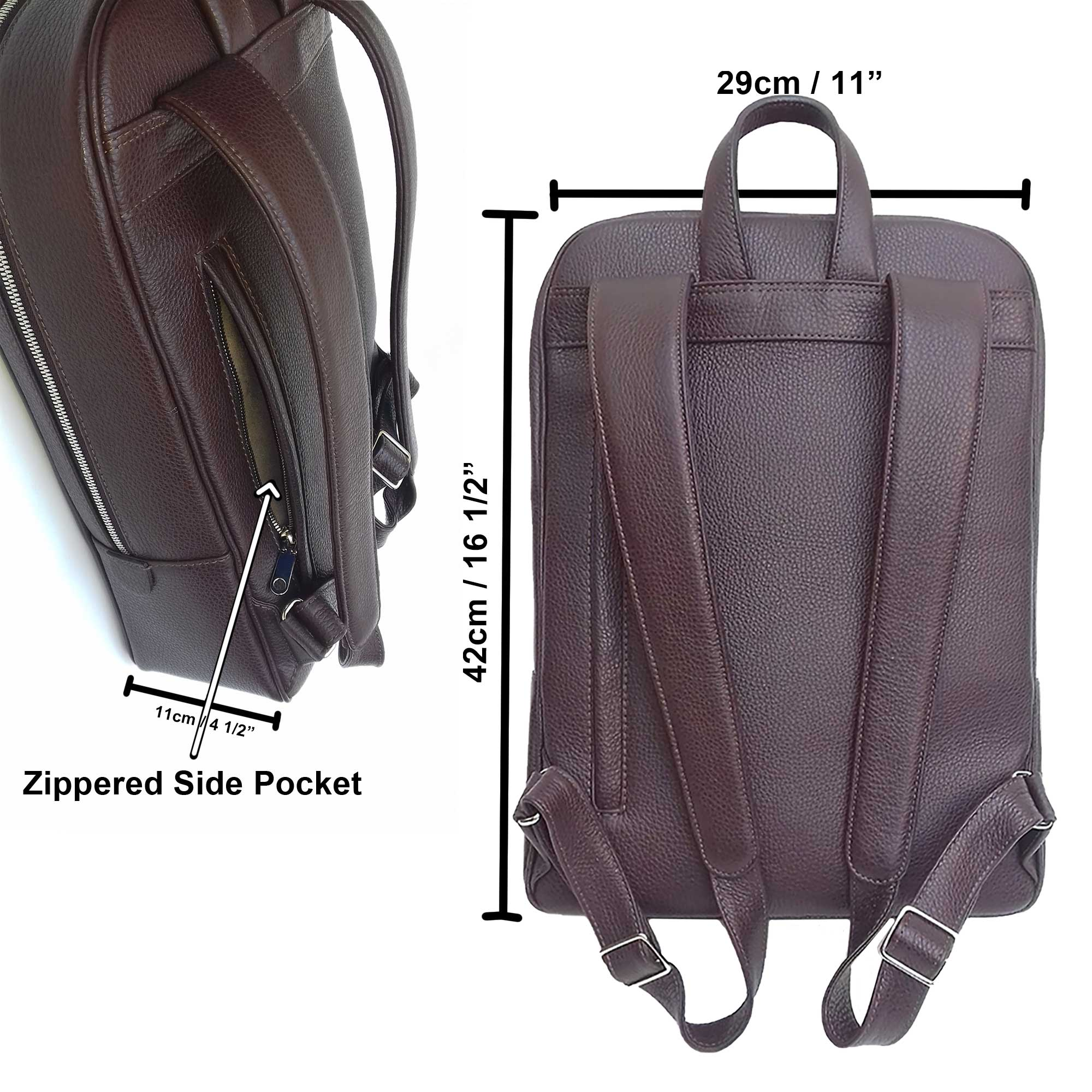 Backpack, Italian Leather Backpack Brown, Zippered Side Pocket and Dimensions - Made in Italy for DiLoro Leather