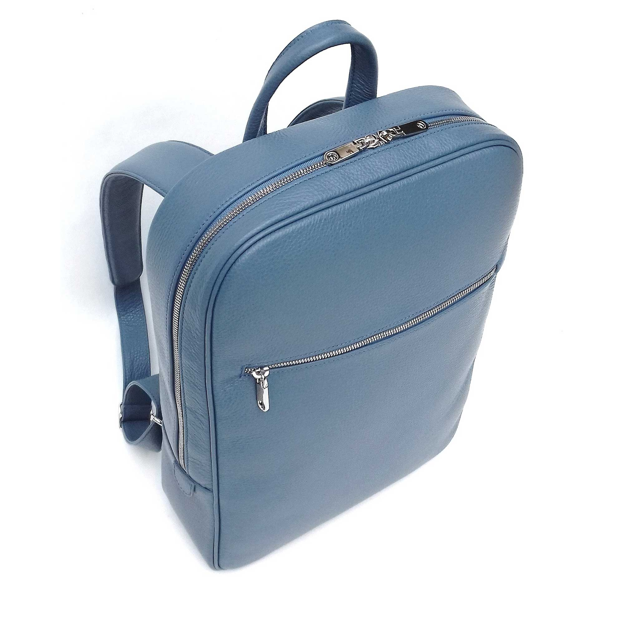Backpack, Italian Leather Backpack Light Blue, Top Front View - Made in Italy for DiLoro Leather