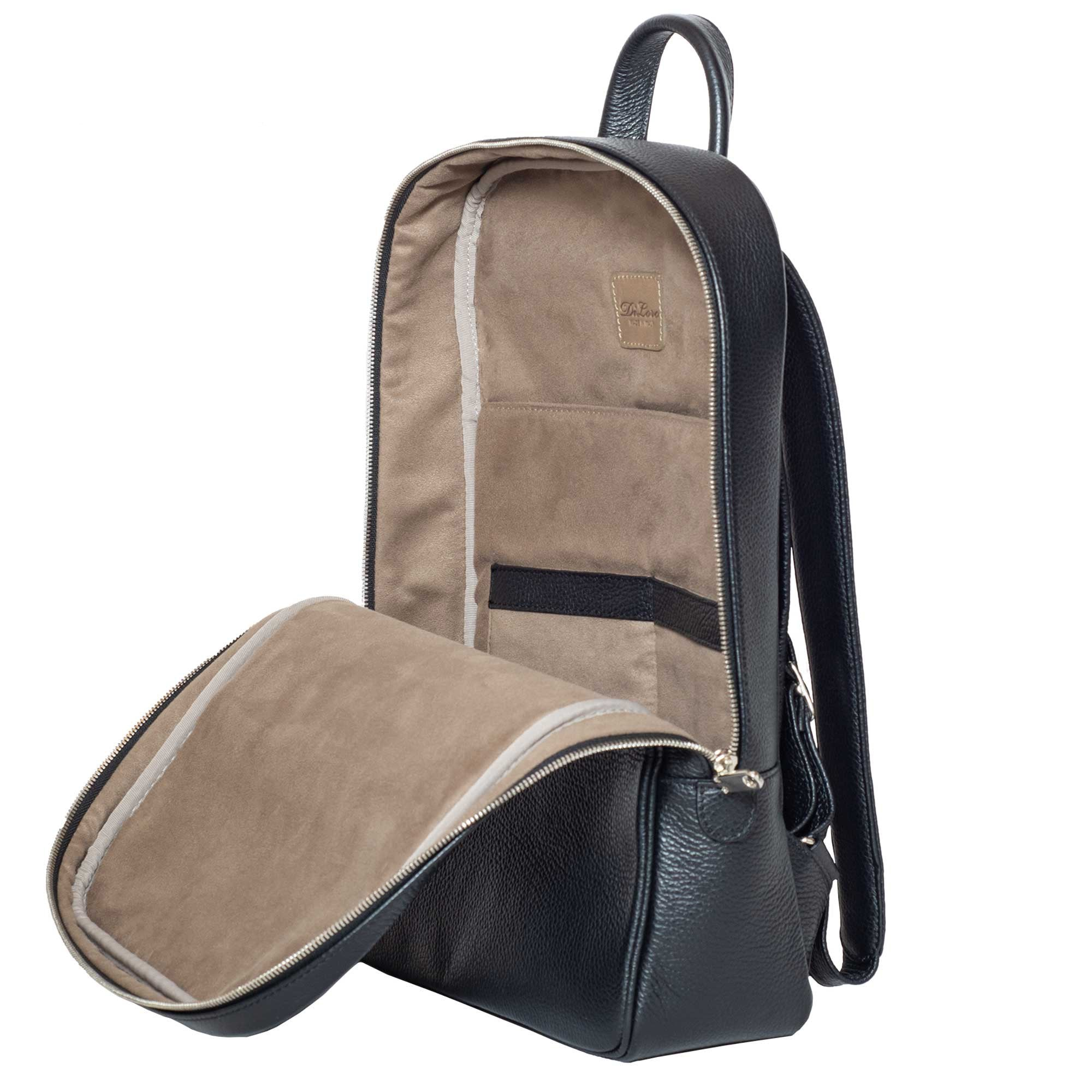 Backpack, Italian Leather Backpacks Black, Inside, Open View - Made in Italy for DiLoro Leather