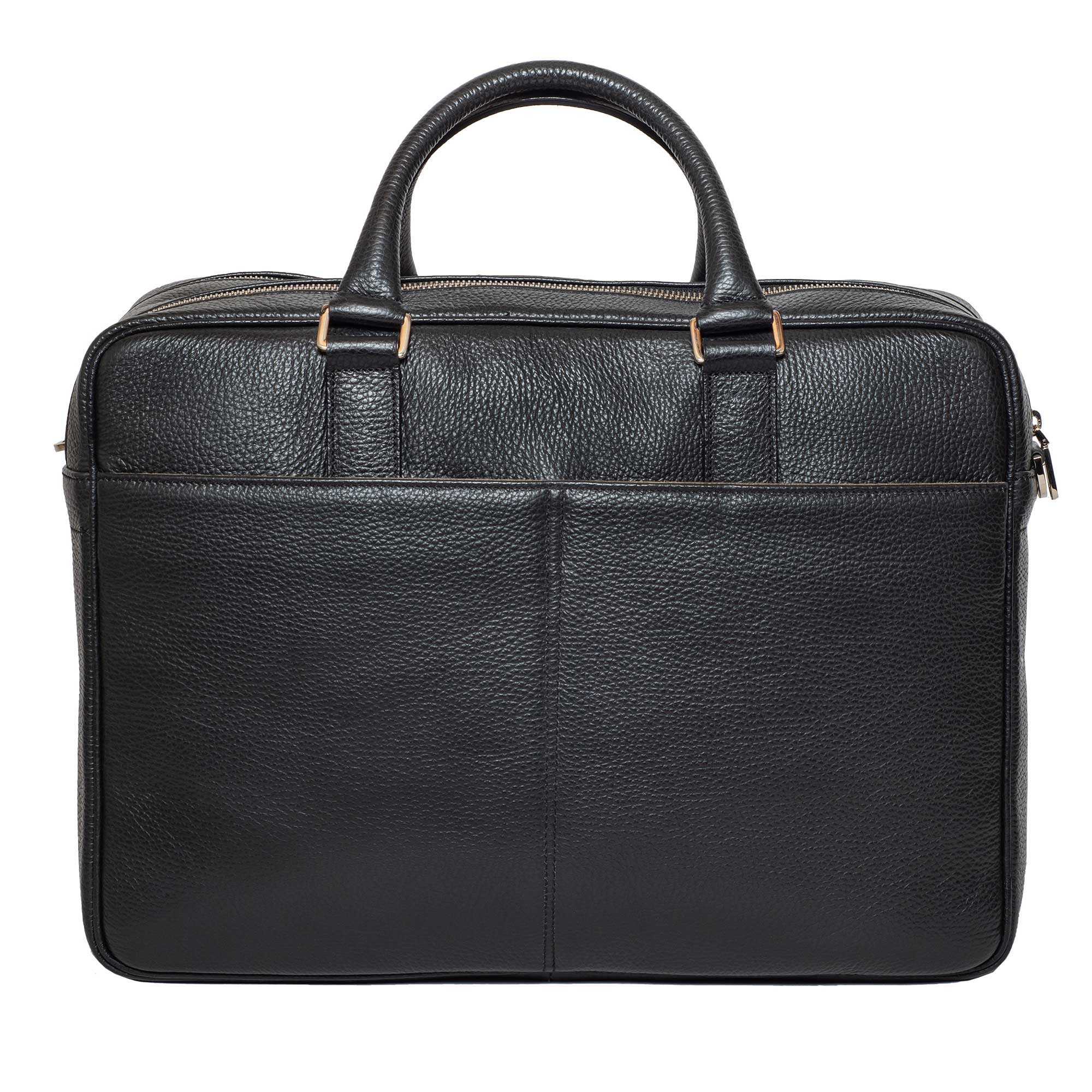 DiLoro Italian Leather Briefcases for Men | Made in Italy - Back view with two outside pockets