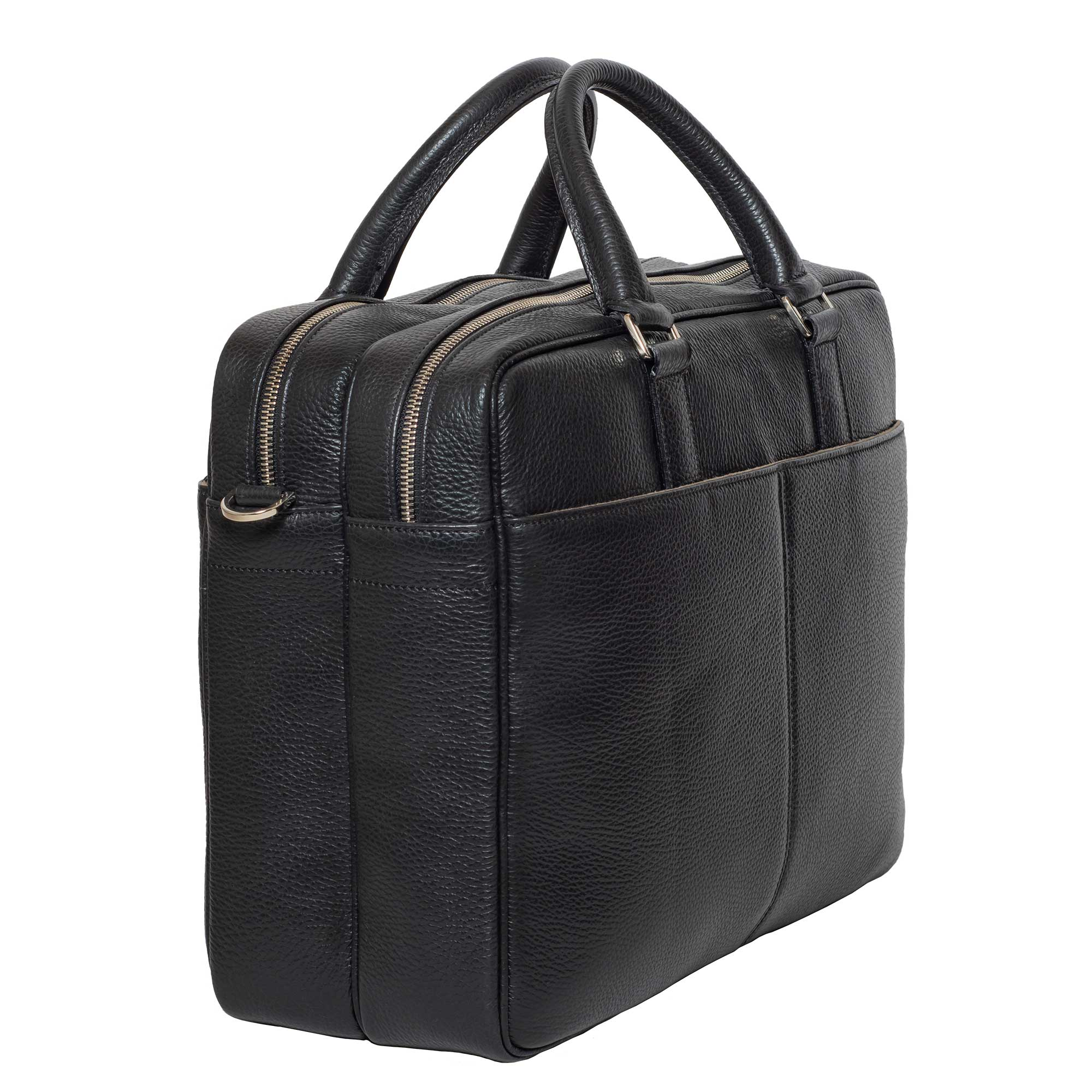 DiLoro Italian Leather Briefcases for Men | Made in Italy - Back, side view with two outside pockets