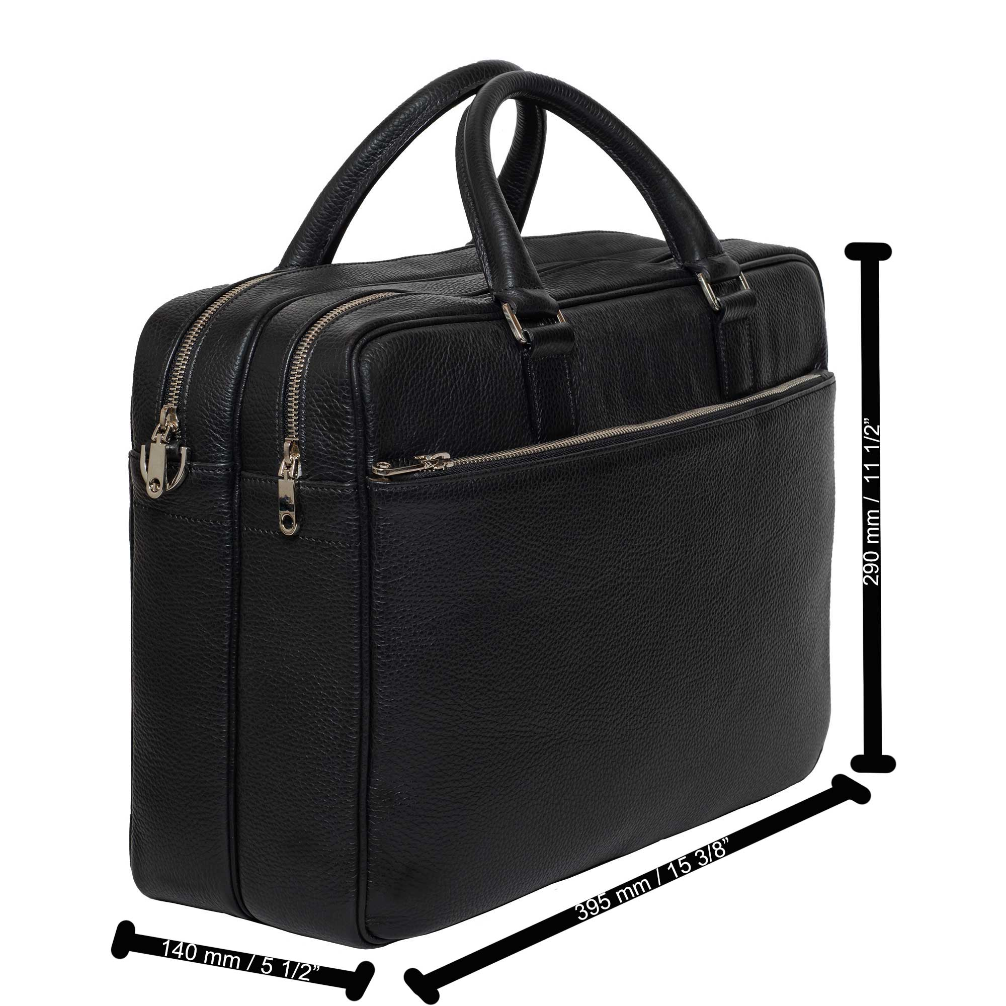 DiLoro Italian Leather Briefcases for Men | Made in Italy - Dimensions