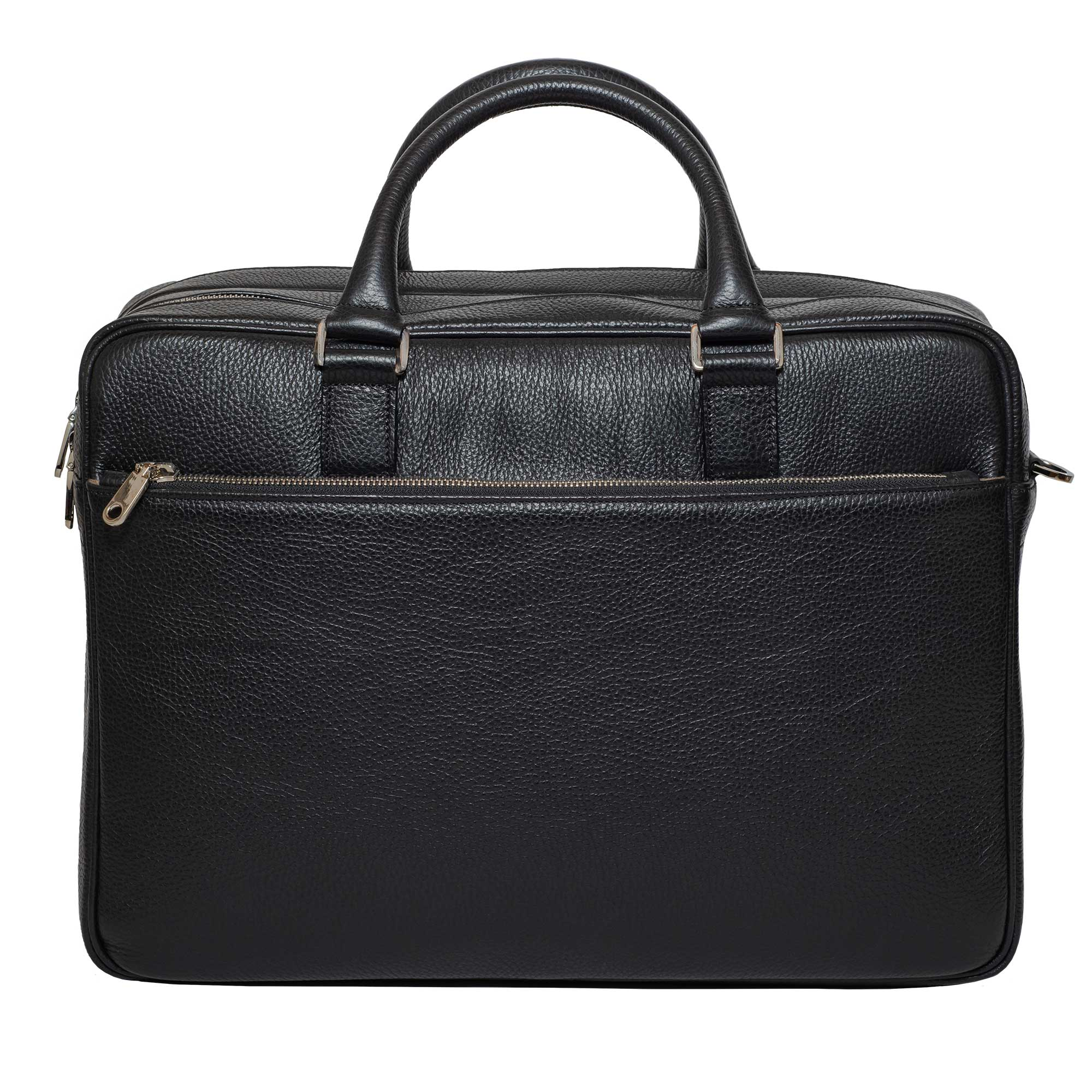 DiLoro Italian Leather Briefcases for Men | Made in Italy - Front View with zippered full length pocket