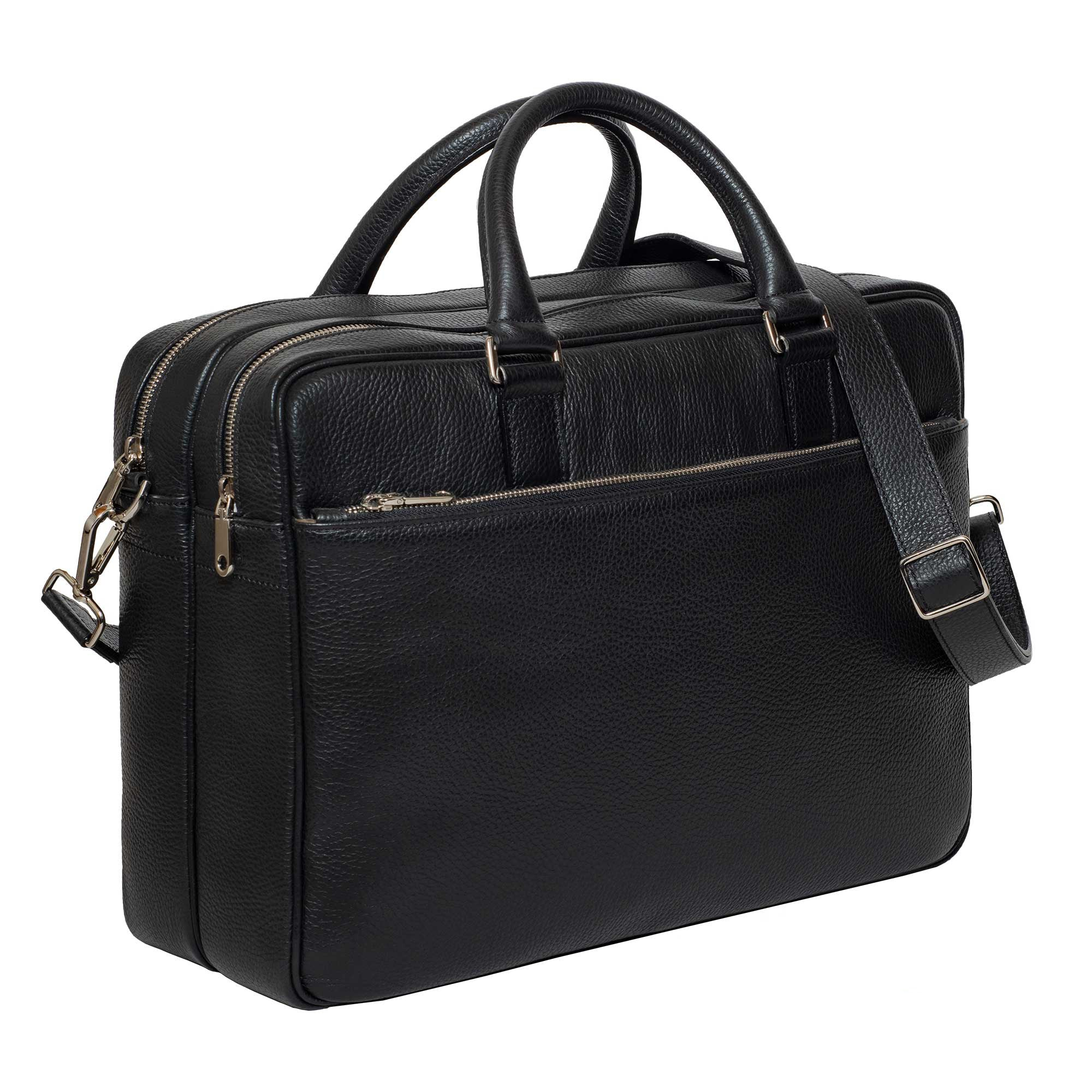 DiLoro Italian Leather Briefcases for Men | Made in Italy - Front, Side View with Strap