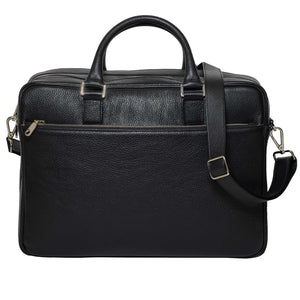 DiLoro Italian Leather Briefcases for Men | Made in Italy - Front View with Strap