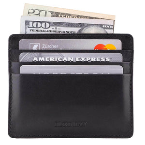 Front View Black Nappa DiLoro Leather Ultra Slim RFID Blocking Minimalist Travel Card Wallet