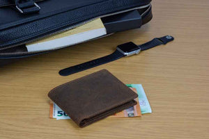 Wallet by DiLoro Italy Leather Ultra Slim Bifold Mens Wallet RFID Blocking in Dark Hunter Brown - Closed, Front View