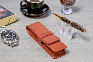 DiLoro Double Pen Case Holder in Top Quality, Full Grain Nappa Leather - Bugatti Tan, Lifestyle Image