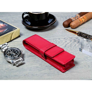 DiLoro Double Pen Case Holder in Top Quality, Venetian Red, Full Grain Nappa Leather - Lifestyle Picture